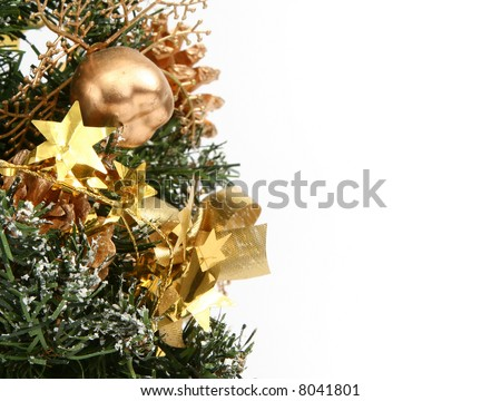 part of artificial christmas decoration, white copy space for your content