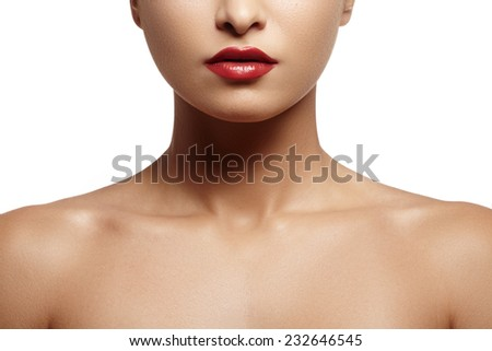 Part of attractive woman's face with fashion red lips makeup. Make-up bloody lipstick  - stock photo