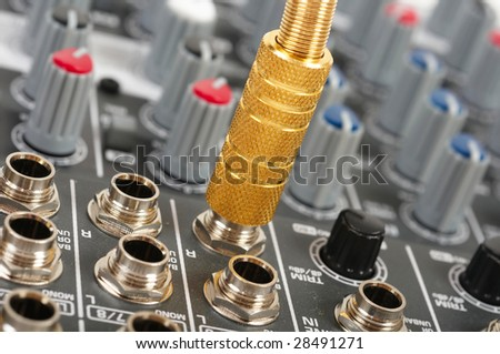 Part of audio control console - stock photo