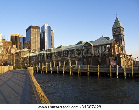 Part of Battery Park City with Pier 1 in Manhattan - stock photo