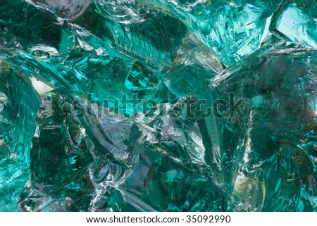 Part of big piece of green glass - horizontal image