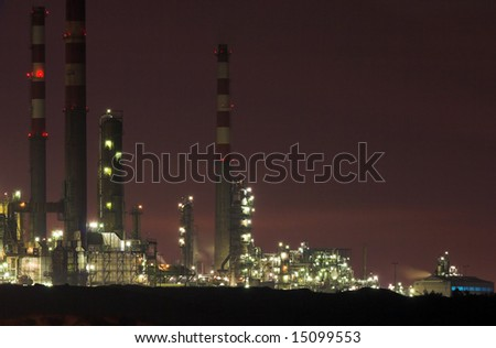 Part of big refinery; night view