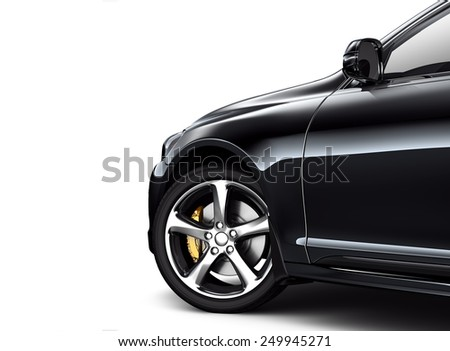 Part of black car on white background - stock photo