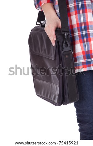 part of body young woman with laptop bag - stock photo