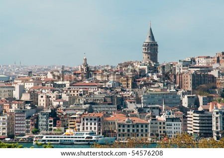 Part of Bosphorus and the Galata Tower - stock photo