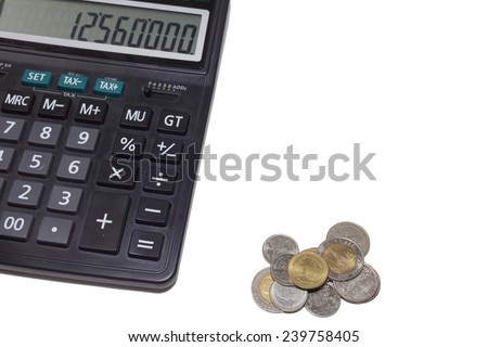 part of calculator and money coin - stock photo