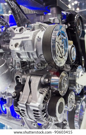 Part of car engine. Closeup Useful as background for design-works. - stock photo