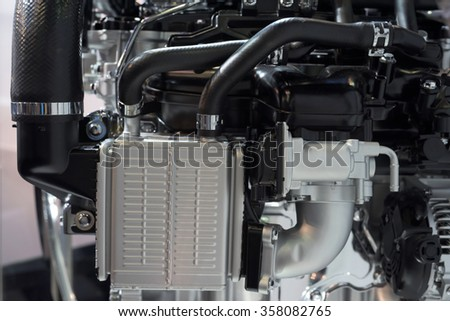 Part of car engine model for motorshow exhibition - stock photo