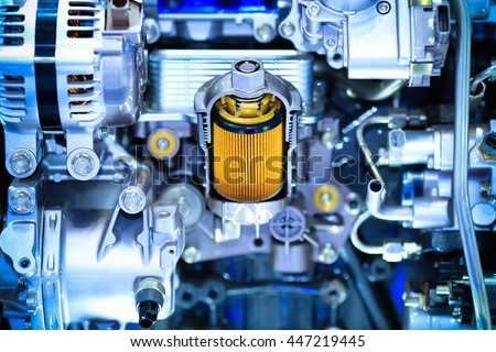 Part of car engine,solar filter - stock photo