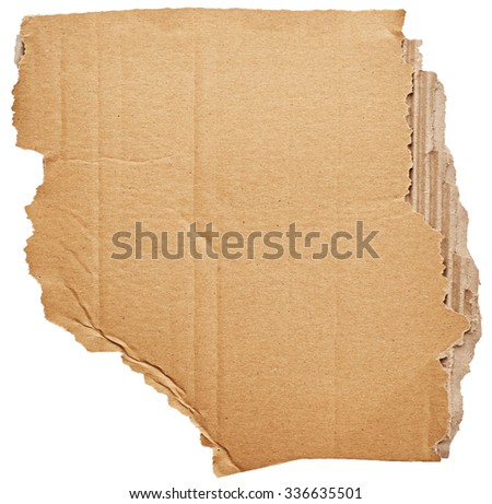 Part of cardboard isolated on white background