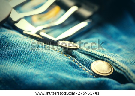Part of classic jeans with button - stock photo