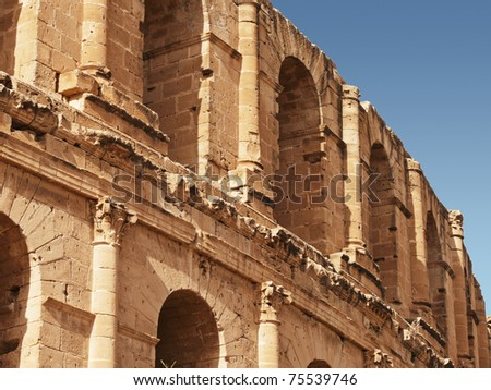 "part of coliseum , ""El Djem"" Tunisia - stock photo"