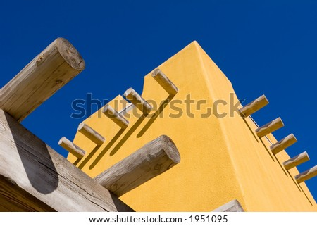 part of colorful adobe building - stock photo