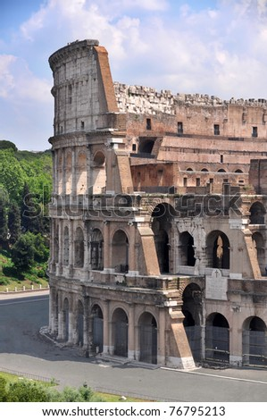 Part of Colosseum, Rome, Italy - stock photo