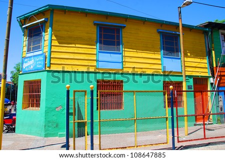 Part of colourful buildings of La Boca Buenos Aires Argentina - stock photo