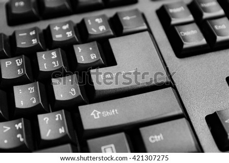 Part of computer keyboard as IT concept background