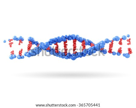 part of DNA molecule on white background - stock photo
