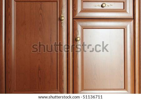 Part of  door  brown  cupboard close up - stock photo