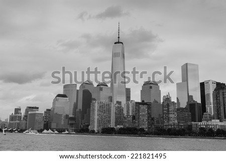 Part of downtown New York City in Black and White - stock photo