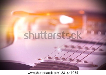 Part of Electric Guitar with abstract light - stock photo
