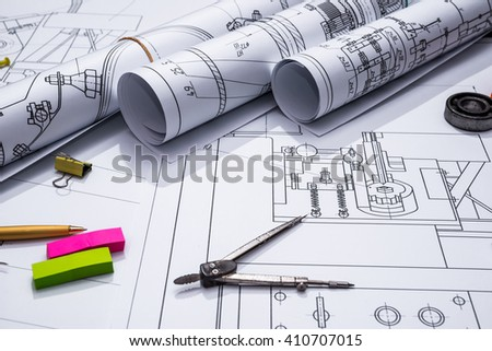 part of engineering project - stock photo