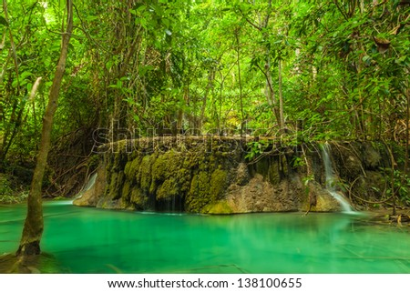 Part of Erawan Waterfall. Kanchanaburi province in Thailand. - stock photo