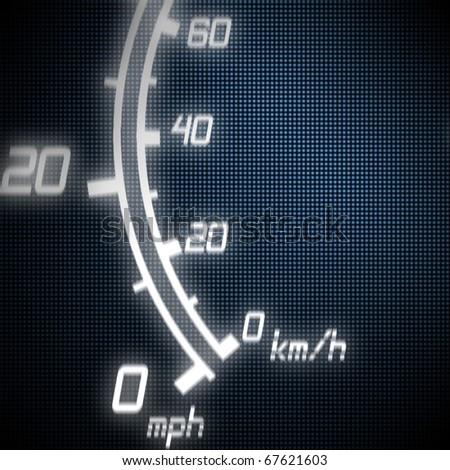 part of futuristic speedometer blue - stock photo