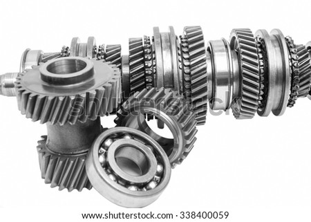 part of gearbox on black and white with isolated background