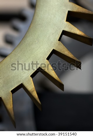 Part of gearwheel with low depth of field - stock photo