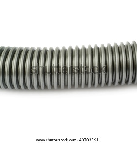 Part of gray Hand held small vacuum cleaner hose isolated over the white background - stock photo