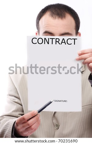 part of hands show contract - stock photo