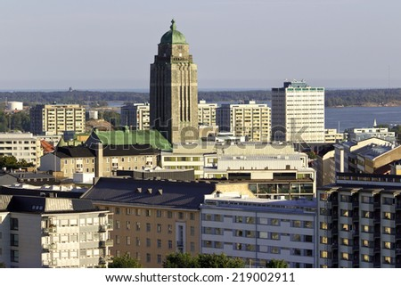 Part of Helsinki city , Kallio church tower in middle - stock photo