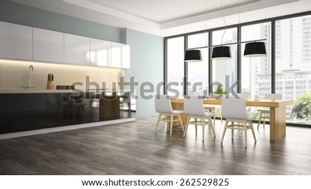 Part of interior dining room 3D rendering  - stock photo