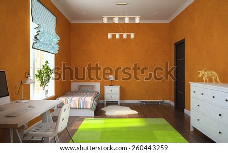 Part of interior modern child room with orange walls 3D rendering - stock photo