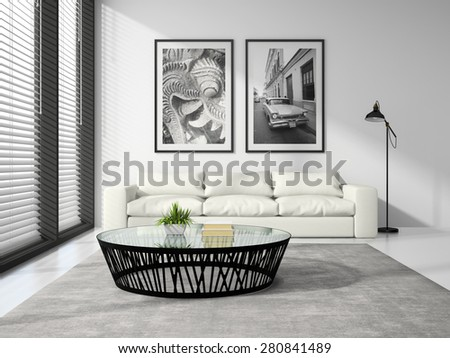 Part of Interior modern design room with white sofa 3D rendering  - stock photo