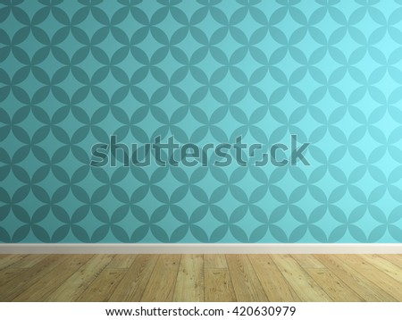 Part of interior with blue wallpaper 3D rendering  - stock photo