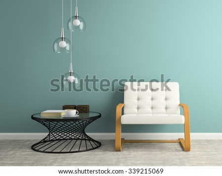 Part of  interior with glass lamp 3D rendering  - stock photo