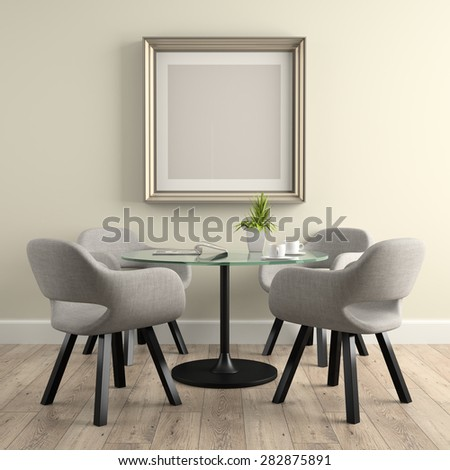 Part of  interior with glass table 3D rendering  - stock photo