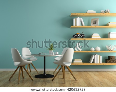 Part of interior with white chairs and shelving 3D rendering - stock photo