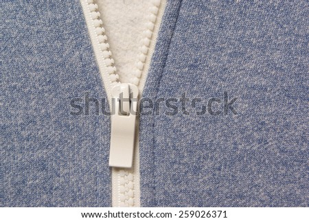 Part of jersey with zipper - stock photo