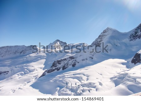 Part of Jungfrau region in Swiss Alpine Alps mountain landscape Switzerland