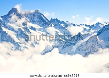 part of Jungfrau region in Swiss Alpine Alps mountain landscape Switzerland - stock photo