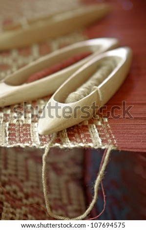 Part of loom homemade - stock photo