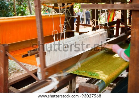 Part of loom white thread homemade - stock photo