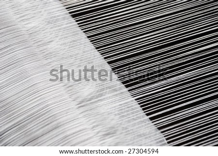 part of loom, white thread, homemade, horizontal - stock photo
