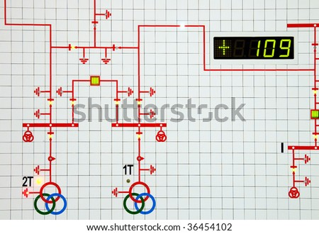 part of modern electric scheme is in control room - stock photo