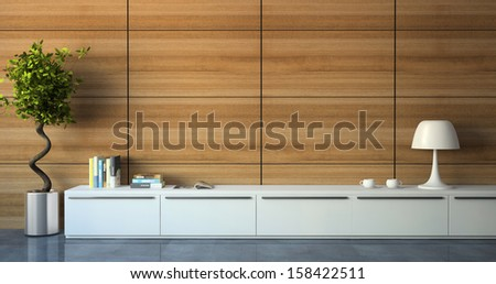 Part of modern interior with wood wall 3d - stock photo