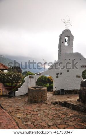 Part of Monserrate old church Bogota - stock photo