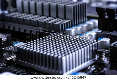 Part of motherboard close up