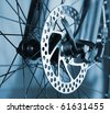 Part of Mountain Bike brake disc in close up. - stock photo